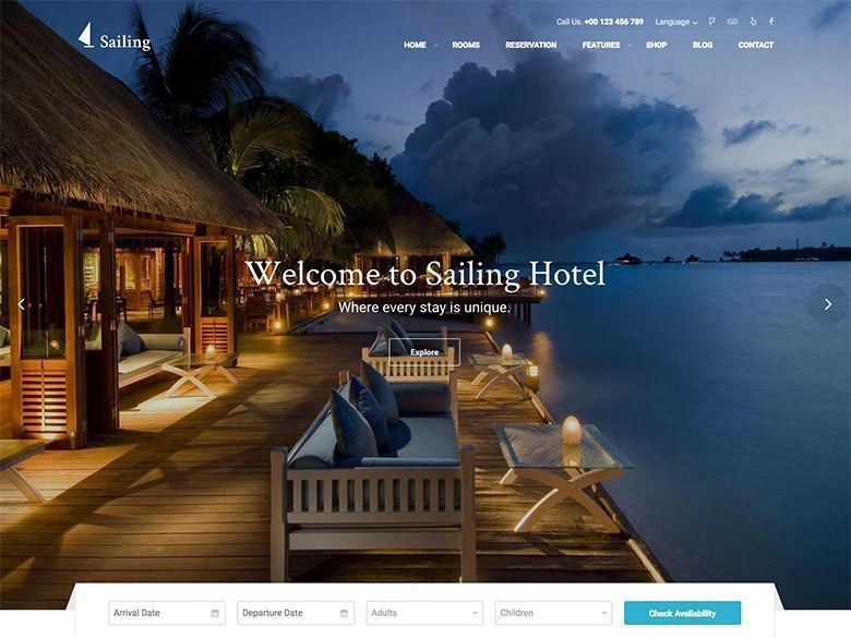 Sailing - Tema WordPress para hoteles, resorts y cadenas hoteleras