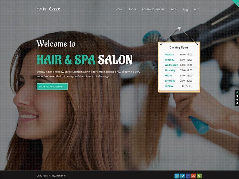 Hair Care - Plantilla WordPress para salones de peluquería de mujer