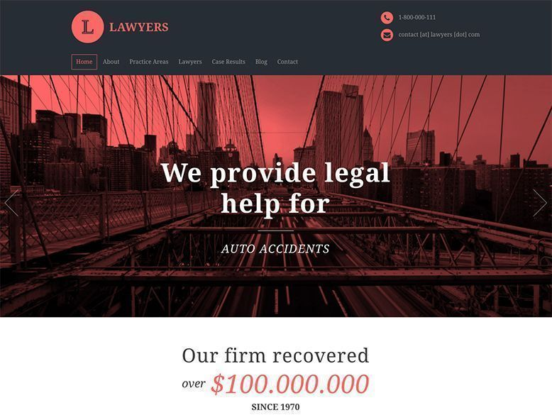 Lawyers - Tema WordPress para bufetes de abogados