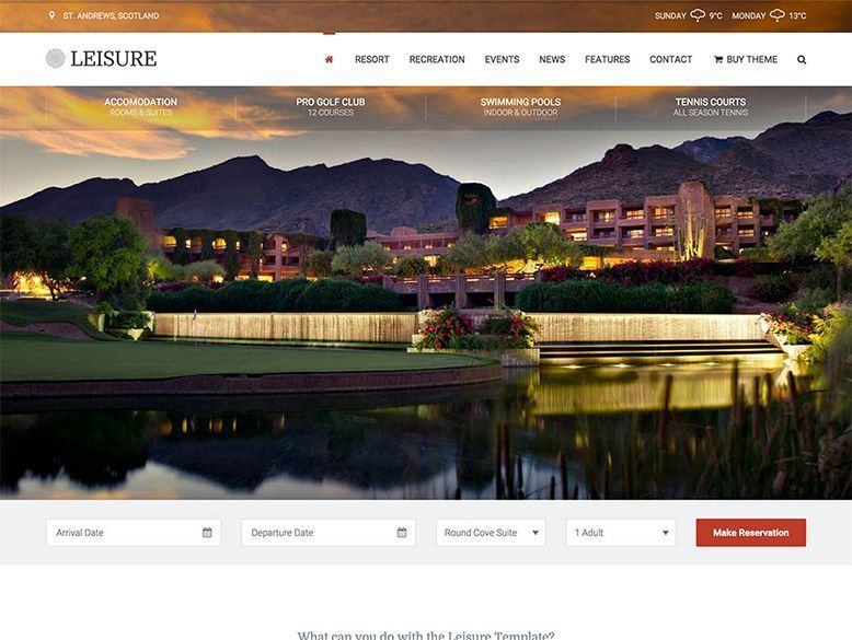 Leisure - Plantilla WordPress para hoteles balneario y spas