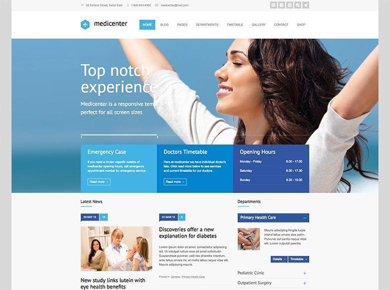 MediCenter - Tema WordPress para hospitales y centros médicos