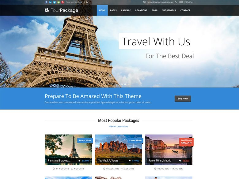 Tour Package - Plantilla WordPress para Agencias de Viaje