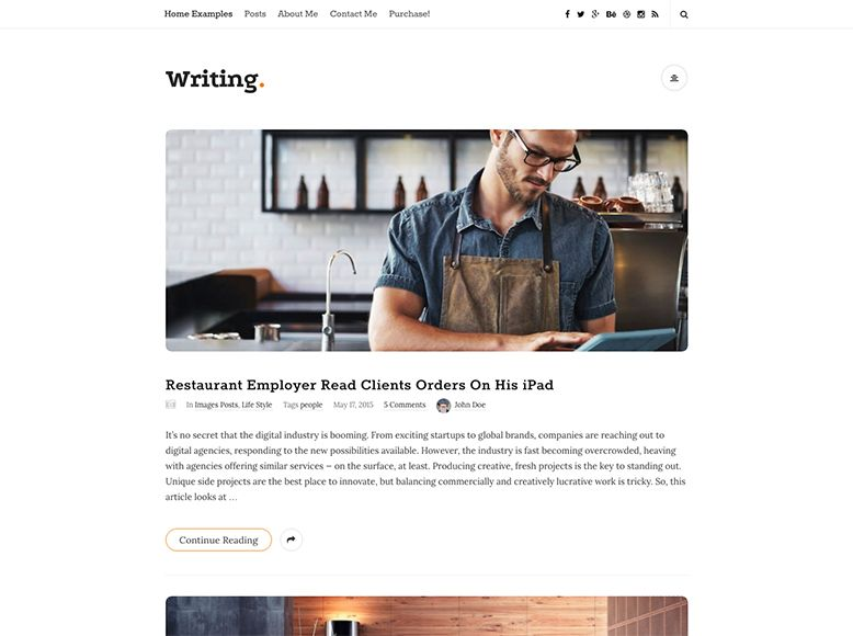 Writting - Plantilla WordPress para blogs de escritores y blogueros