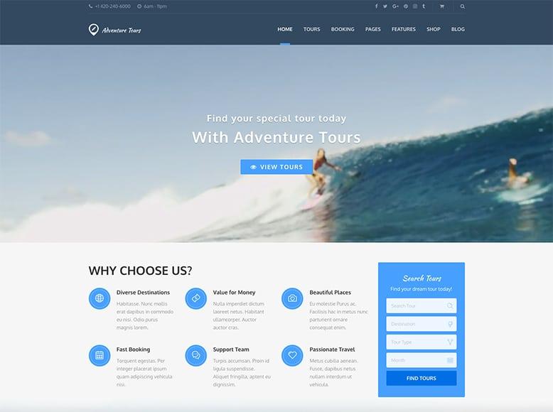 Adventure Tours - Plantilla WordPress para agencias de viajes y tour operadores