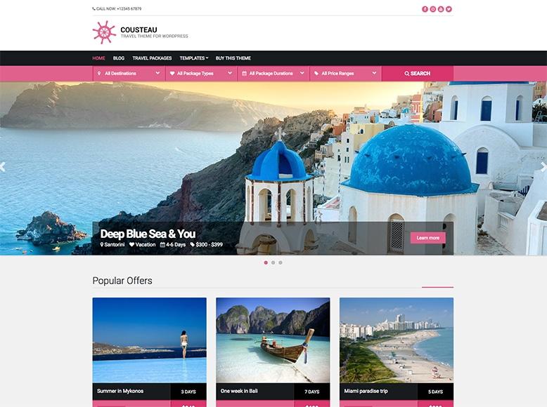 Cousteau - Tema WordPress para sitios de viajes, tour operadores y agencias de viajes
