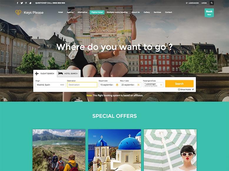 Kallyas - Tema WordPress para sitios de reservas de viajes, aviones y hoteles