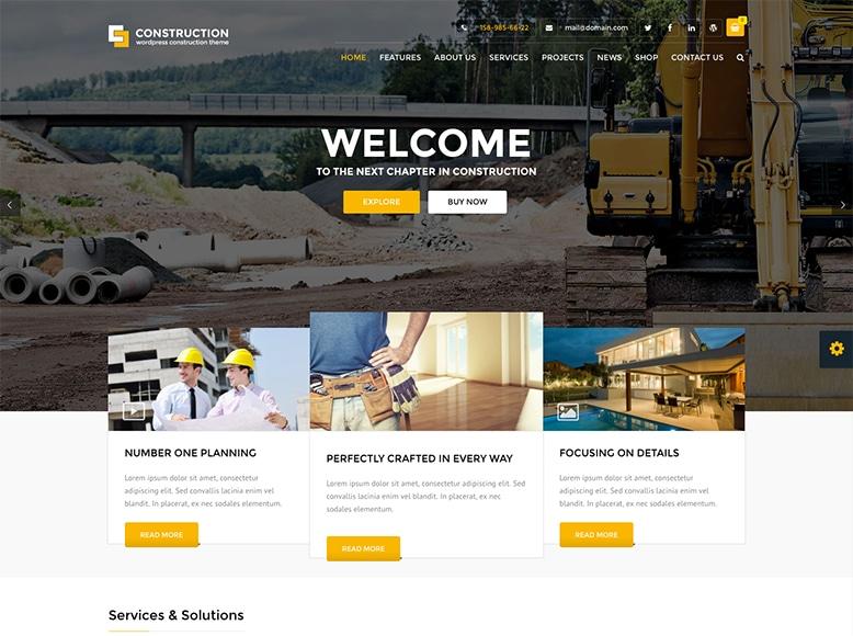 Construction - Plantilla WordPress para constructoras, empresas de la construcción y reformas