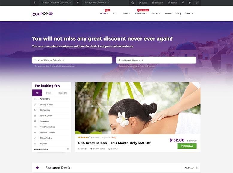 CouponXL - Plantilla WordPress para listados de cupones, ofertas y descuentos