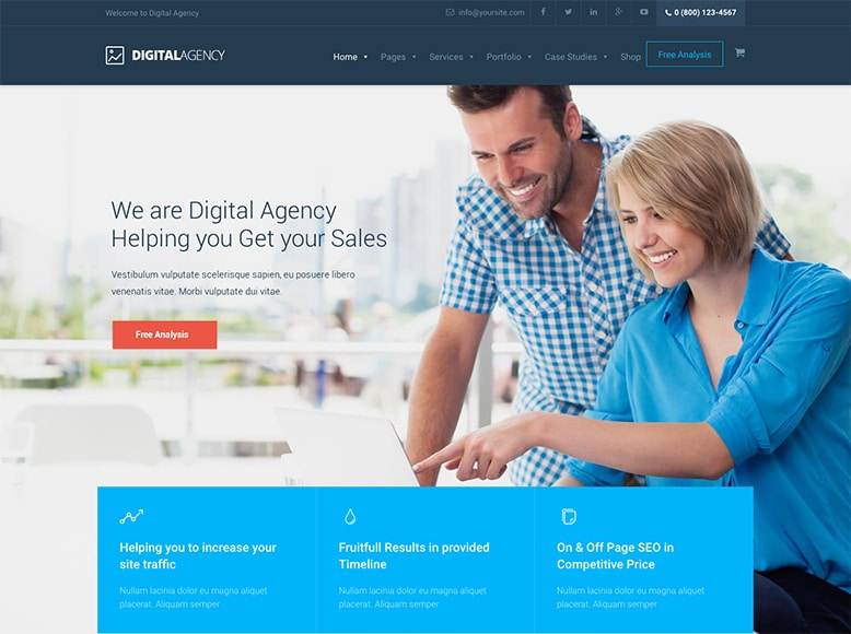 Digital Agency - Plantilla WordPress para agencias SEO y empresas de Marketing Online