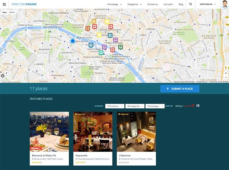 DirectoryEngine - Plantilla WordPress para directorios online