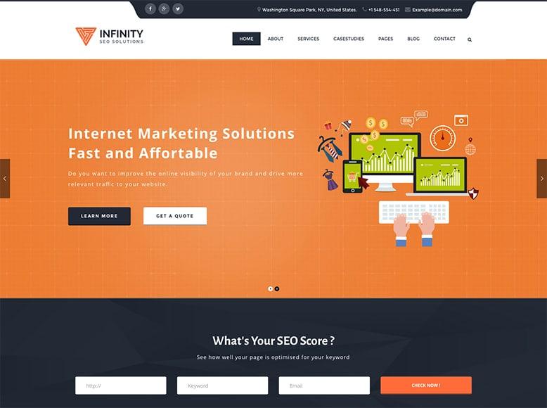 Infinity - Plantilla WordPress moderna para Agencias SEO y Social Media
