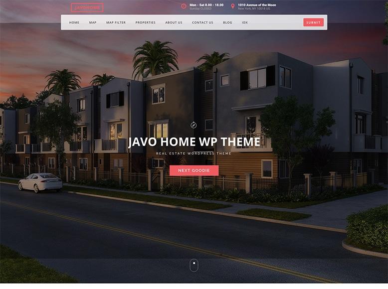 Javo Home - Plantilla WordPress para agencias inmobiliarias y agentes de la propiedad
