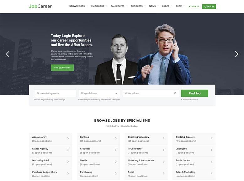 JobCareer - Plantilla WordPress para listados de ofertas laborales