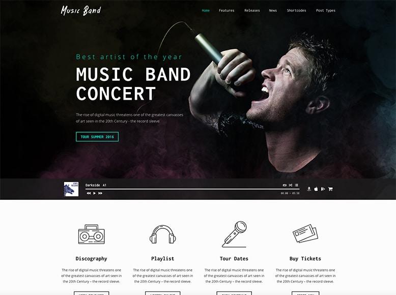 Music Band - Plantilla WordPress para bandas musicales y grupos