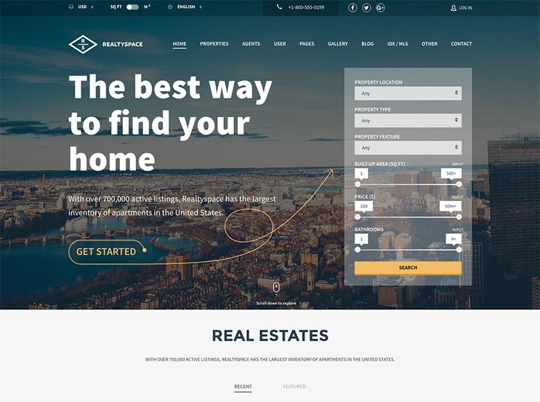 Realtyspace - Plantilla WordPress para agentes inmobiliarios y agencias