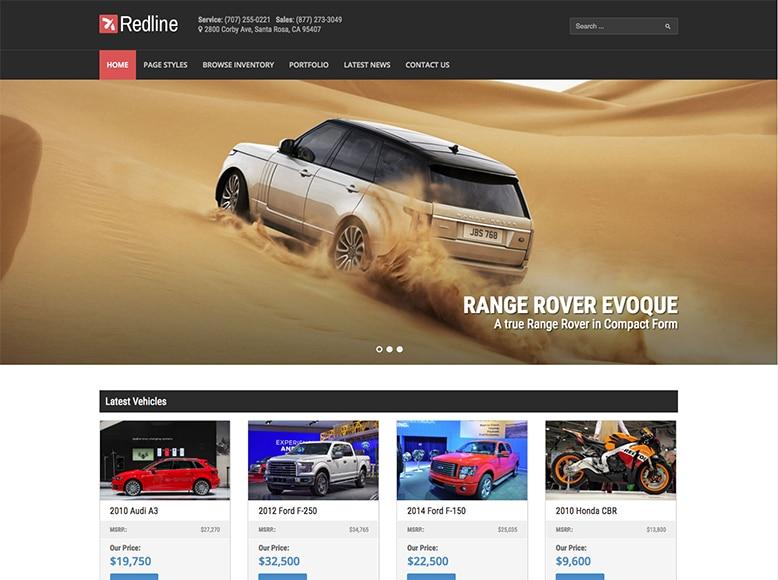 Redline - Plantilla WordPress para concesionarios de coches, motos y barcos