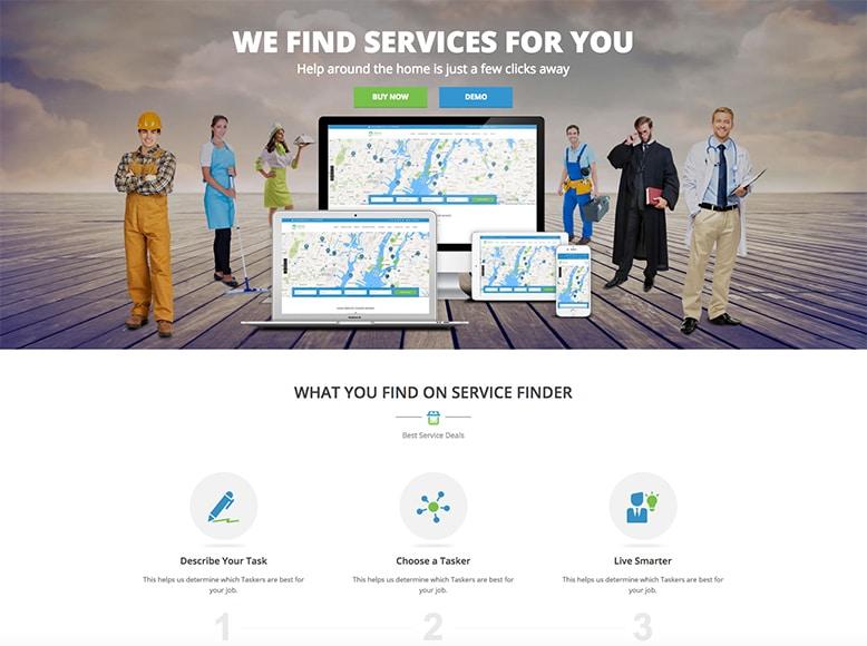 Service Finder - Plantilla WordPress para directorios de servicios de empresas