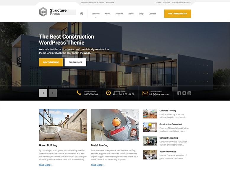 StructurePress - Plantilla WordPress para empresas de construcción y reformas