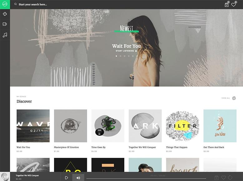 Sura - Plantilla WordPress para plataforma de venta online de música, álbumes y canciones