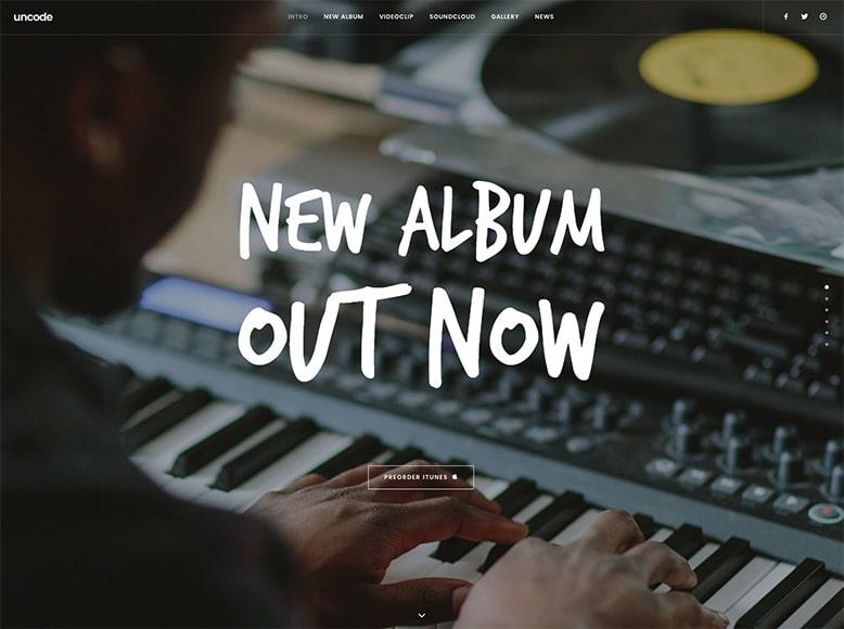 Uncode - Plantilla WordPress multipropósito para artistas y bandas de música pop/rock