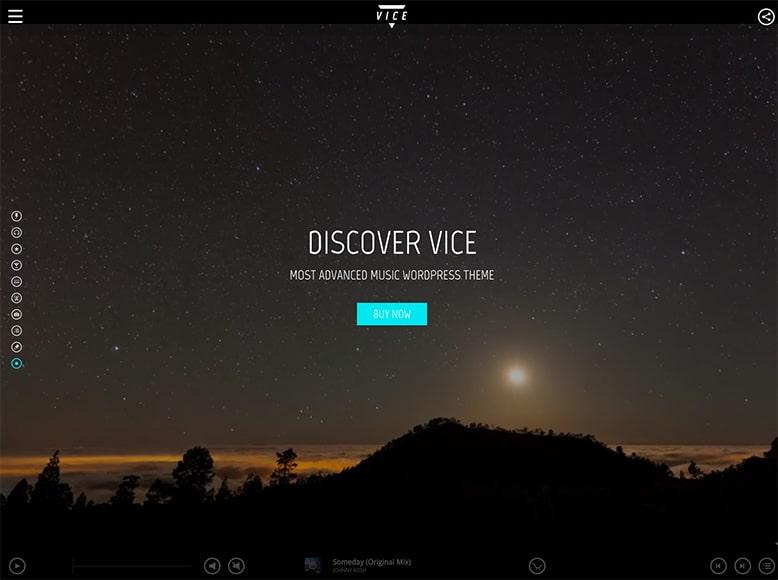 Vice - Plantilla WordPress para bandas de música pop y rock, cadenas de radio, productores