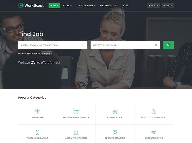 WorkScout - Plantilla WordPress para portales de búsqueda de trabajo