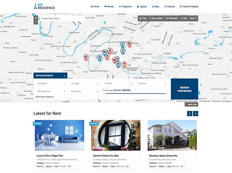 WP Residence - Plantilla WordPress para venta de propiedades e inmuebles