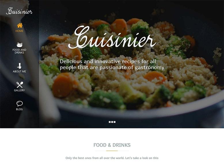 Cuisinier - Plantilla WordPress para blogs y sitio web para compartir recetas y trucos de cocina