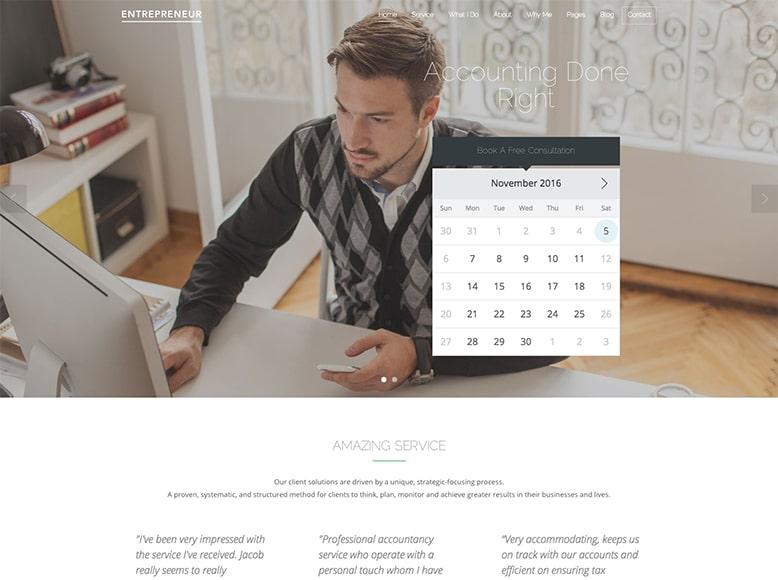 Entrepreneur - Plantilla WordPress para emprendedores y pequeñas empresas con citas online