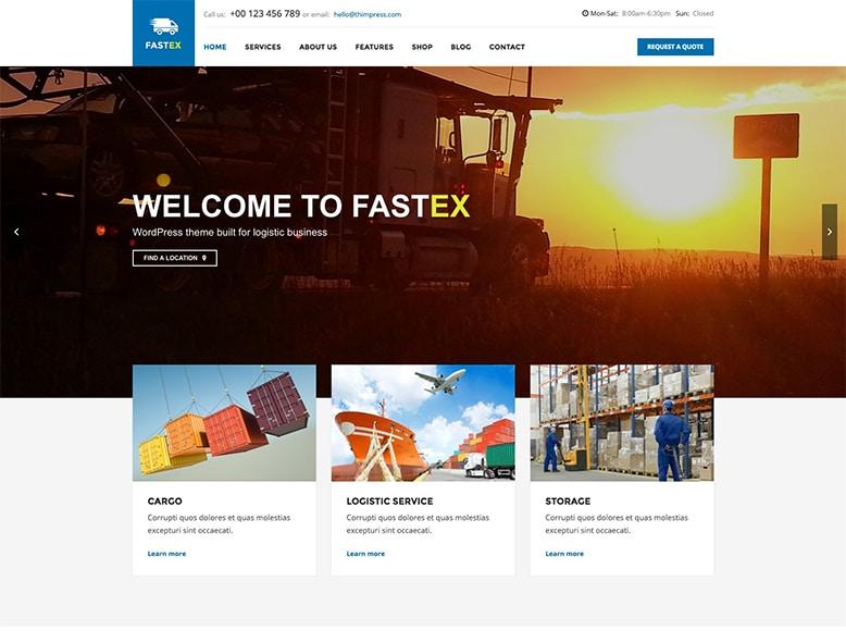 FastEx - Plantilla WordPress para empresas de transporte terrestre, embalaje y almacenamiento, servicios de logística