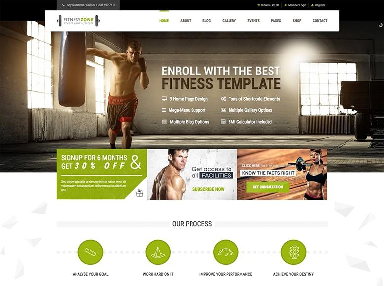 Fitness Zone - Plantilla WordPress para centros deportivos, gimnasios y entrenadores personales
