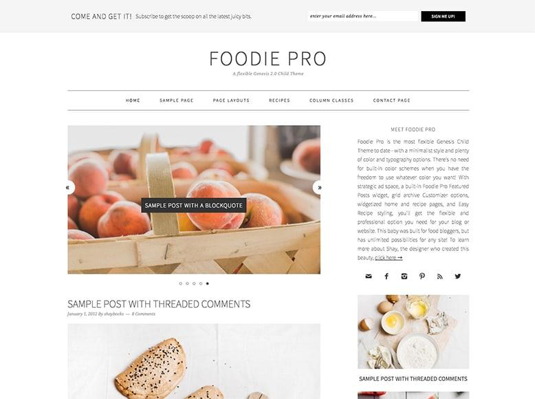 Foodie Pro - Plantilla WordPress moderna para blogs de recetas