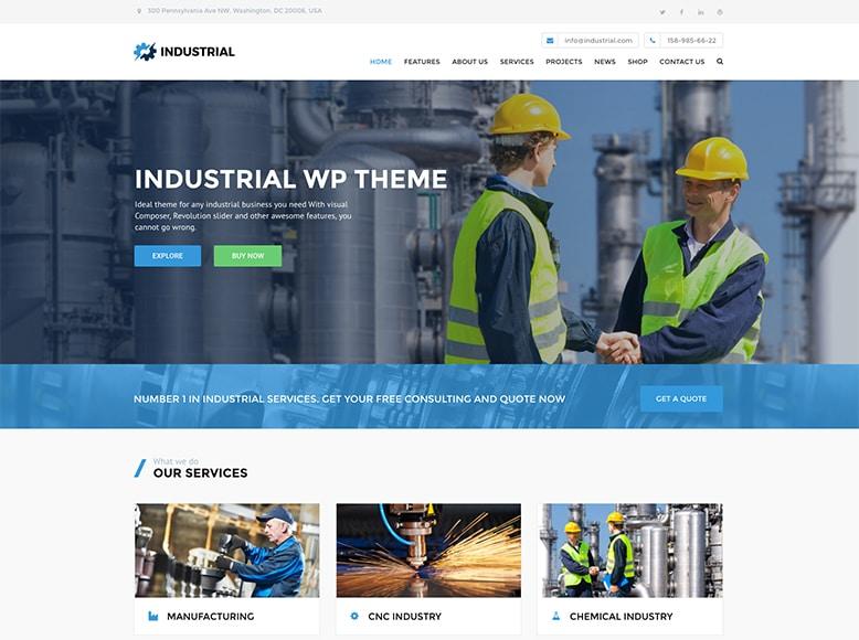 Industrial - Plantilla WordPress para empresas del sector industrial, manufacturero y factorías