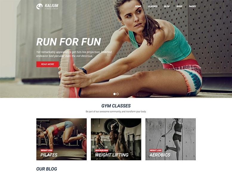 Kalium - Plantilla WordPress para pequeños y medianos gimnasios, y salas de fitness