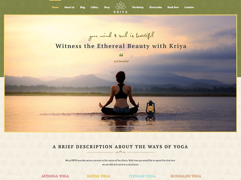 Kriya Yoga - Plantilla WordPress para estudios de Kriya Yoga, Asthanga Yoga, Iyengar