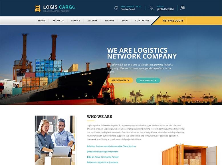 Logiscargo - Plantilla WordPress para empresas de transporte de mercancías y logística