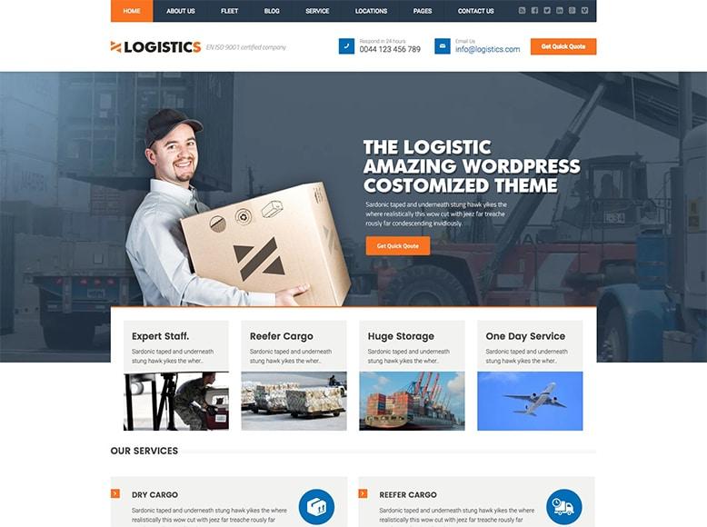 Logistics - Plantilla WordPress para compañías de logística, transporte y almacenamiento