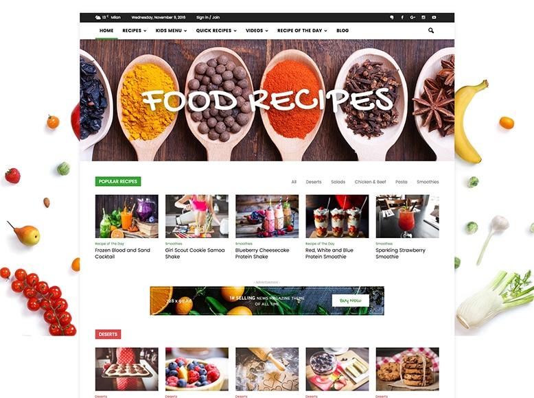 Newspaper - Tema WordPress para revistas y blogs de recetas de cocina y postres