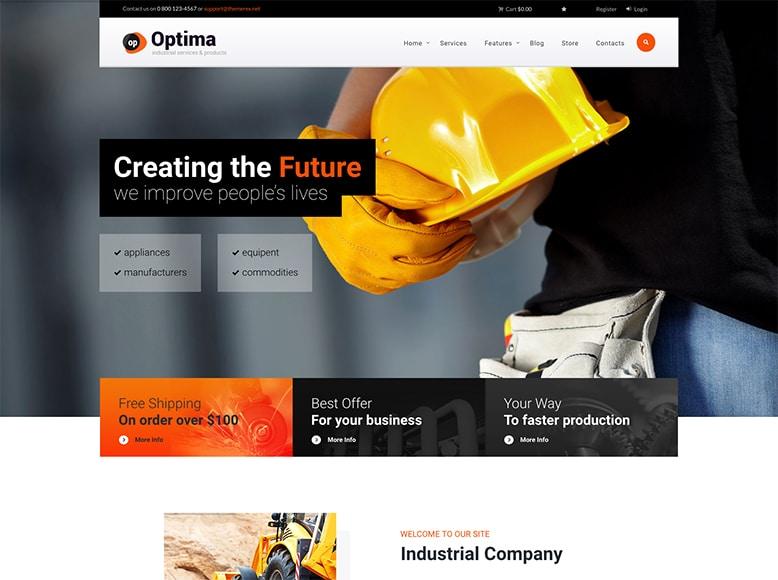 Optima - Plantilla WordPress para empresas de manufacturado, desarrollo, ingeniería, o construcción