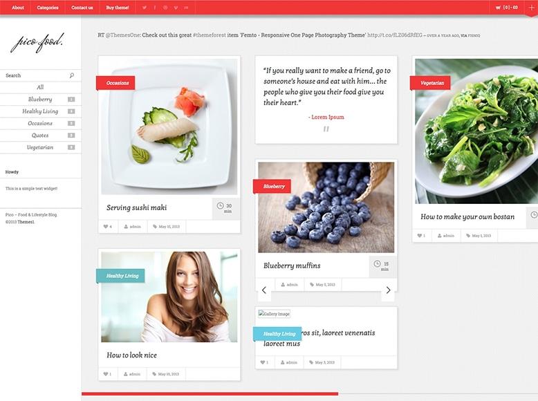 Pico - Plantilla WordPress para blogs de recetas, cocina, salud y estilo de vida