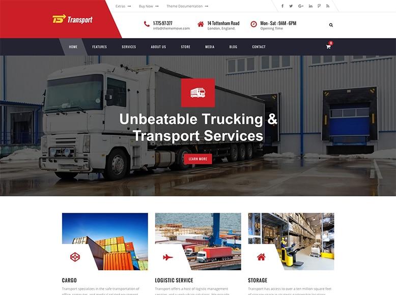 Transport - Plantilla WordPress para empresas de transporte, logística y almacenamiento