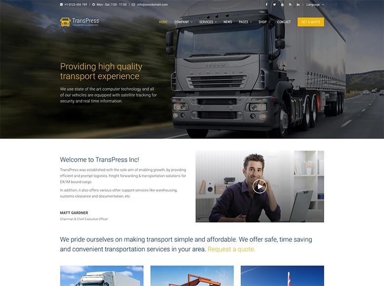 TransPress - Plantilla WordPress para compañías de transporte de mercancía, paquetería y logística