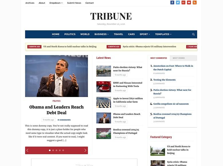 Tribune 4.0 - Tema WordPress para periódicos digitales y sitios de noticias online