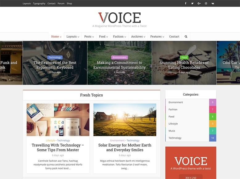 Voice - Tema WordPress para periódicos digitales y blogs de noticias