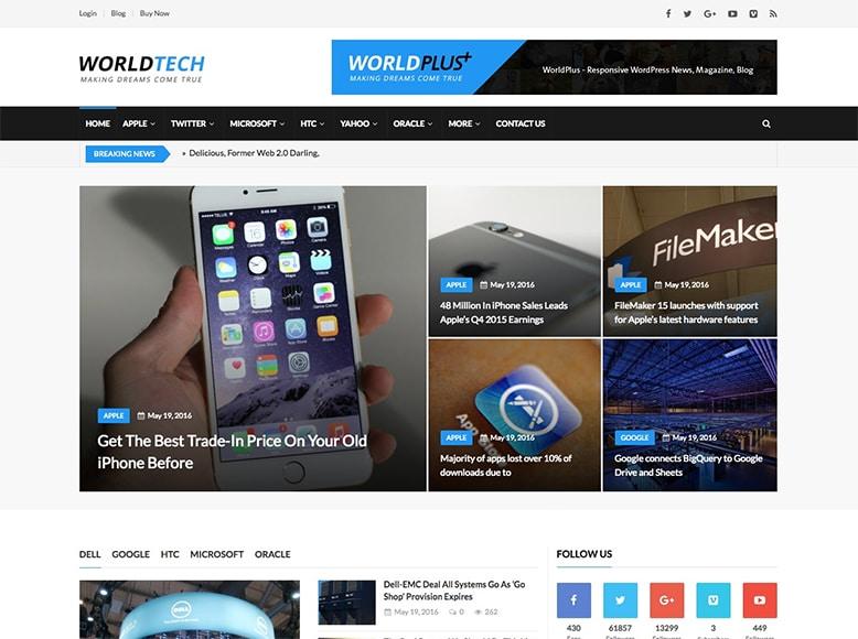 WordPlus - Plantilla WordPress para periódicos y blogs de noticias online