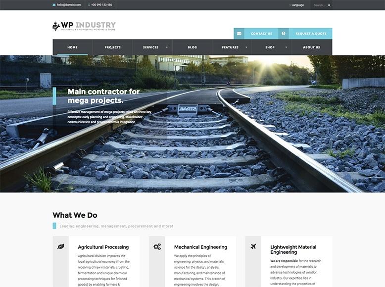 WP Industry - Plantilla WordPress para empresas de industria, de tecnología, de ingeniería o de maquinaria