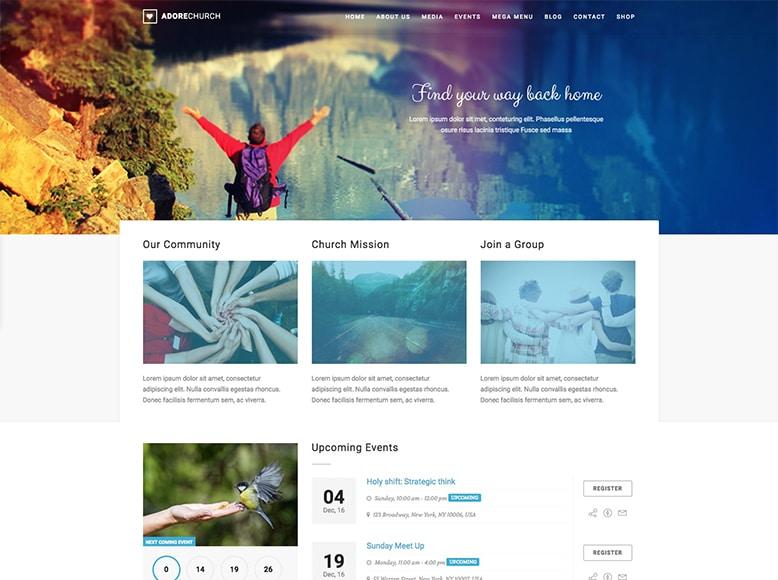 Adore Church - Plantilla WordPress para iglesias y sitios web de grupos religiosos
