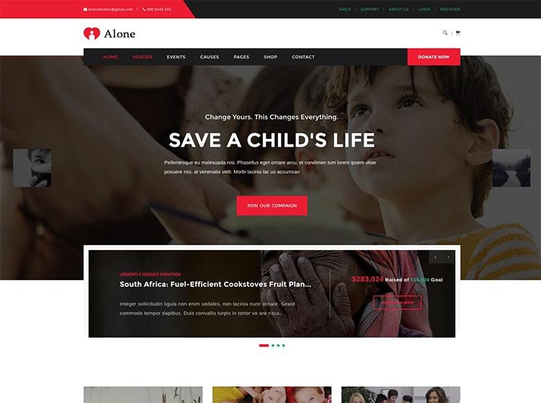 Alone - Plantilla WordPress para ayuda humanitaria, organizaciones sin ánimo de lucro, ONGs