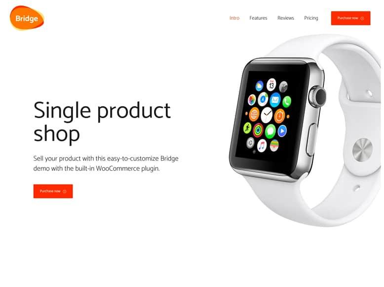 Bridge - Tema WordPress de una sola página para empresas, tiendas online, promoción de productos y aplicaciones