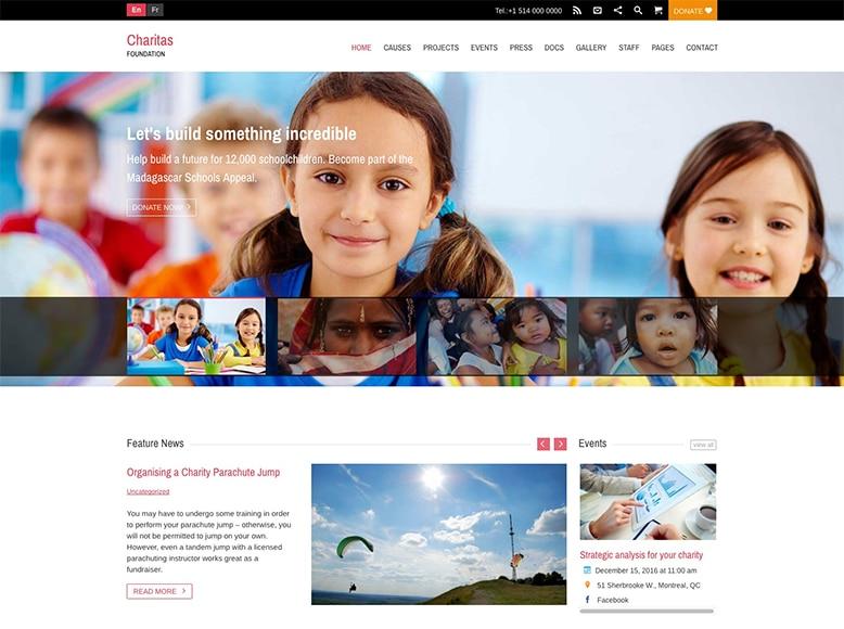Charitas - Plantilla WordPress para asociaciones de caridad, fundaciones benéficas, ONGs